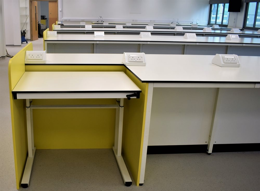 University of St. Andrews using Trespa TopLab Plus for cantilever desks